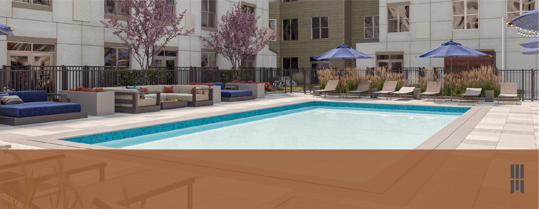 spacious swimming pool with ample reclining seats, closeness to property & lush landscaping