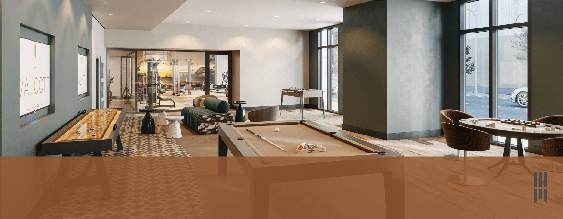 game room with pool table, shuffleboard, seating and easy access to fitness center