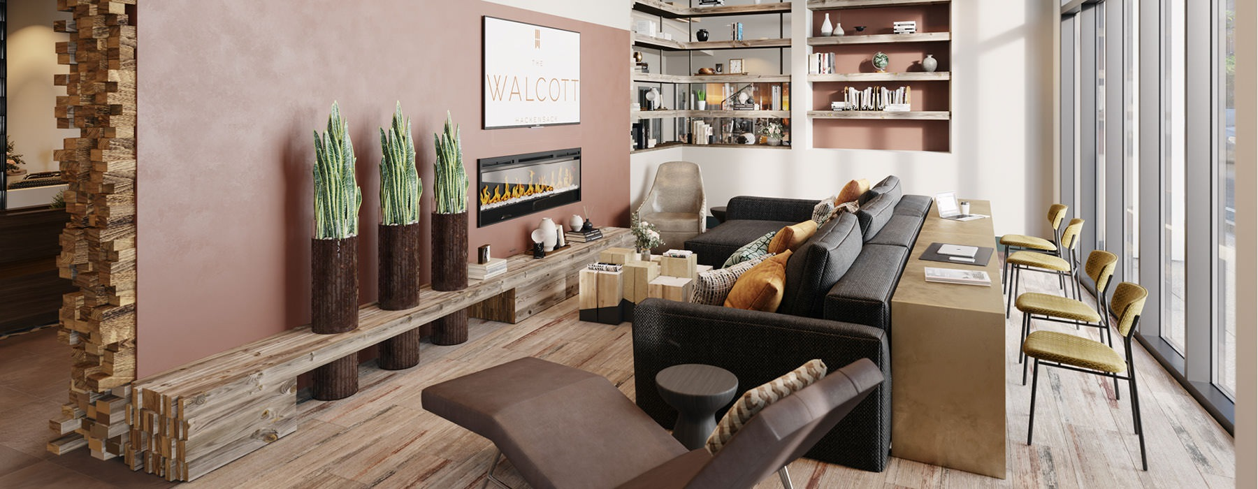 well lit clubroom sitting area in front of fire place