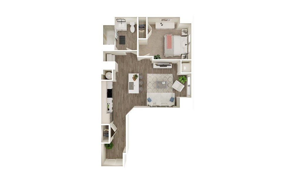 AA - 1 bedroom floorplan layout with 1 bath and 748 square feet.