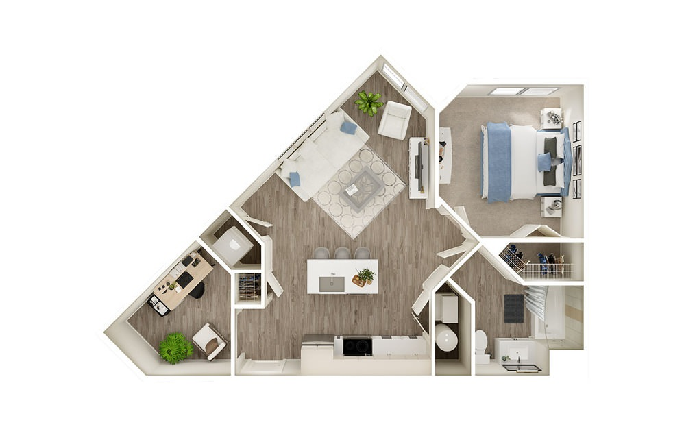 AAD - 1 bedroom floorplan layout with 1 bath and 726 to 730 square feet.