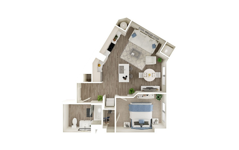 AB - 1 bedroom floorplan layout with 1 bath and 665 square feet.