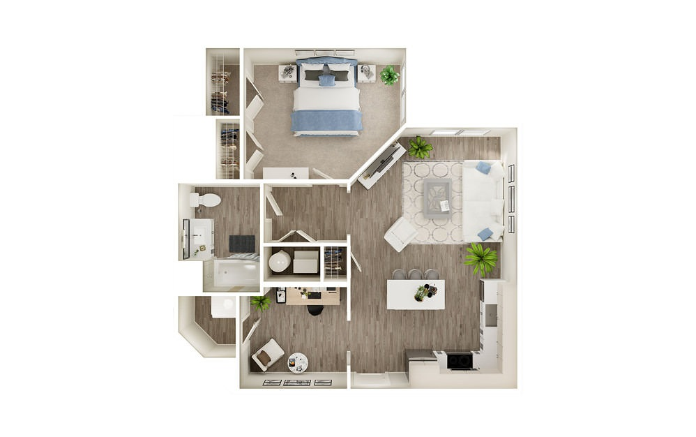 ACD - 1 bedroom floorplan layout with 1 bath and 854 square feet.