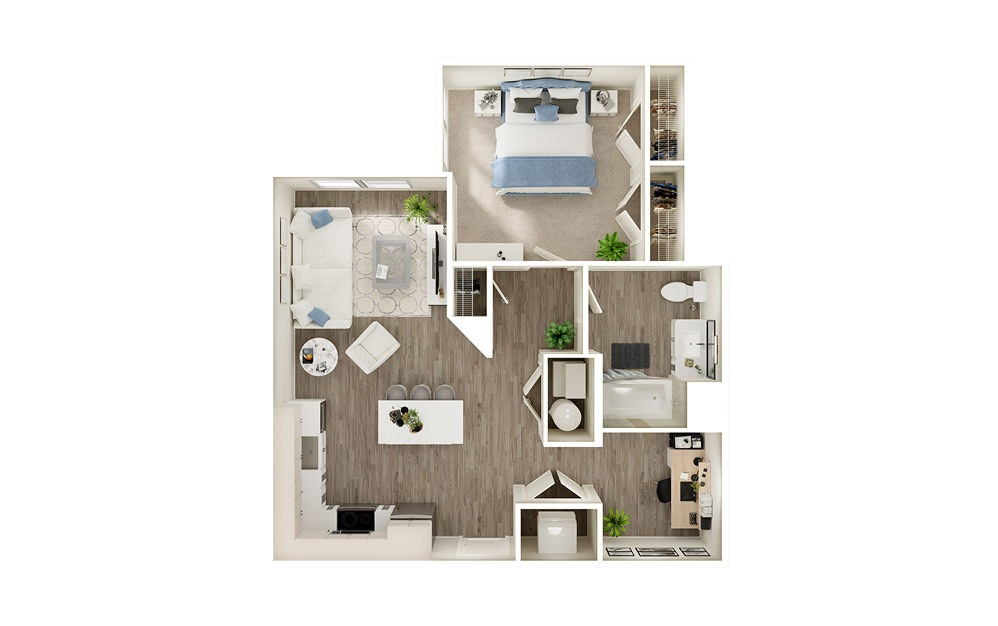 ADD - 1 bedroom floorplan layout with 1 bath and 758 square feet.