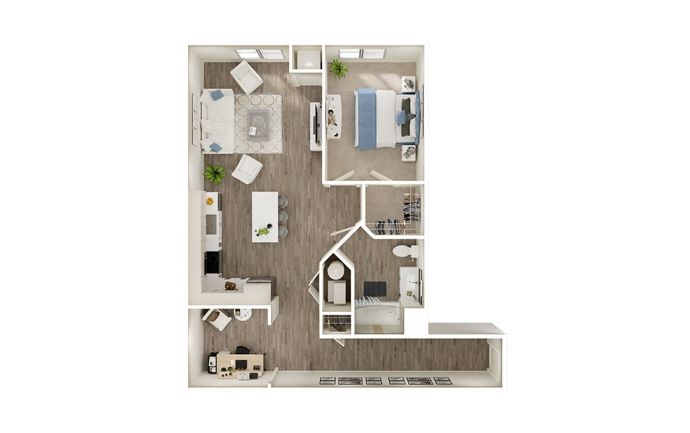 AED - 1 bedroom floorplan layout with 1 bath and 997 square feet.