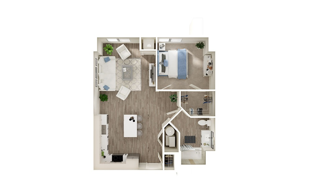 AG - 1 bedroom floorplan layout with 1 bath and 723 to 786 square feet.