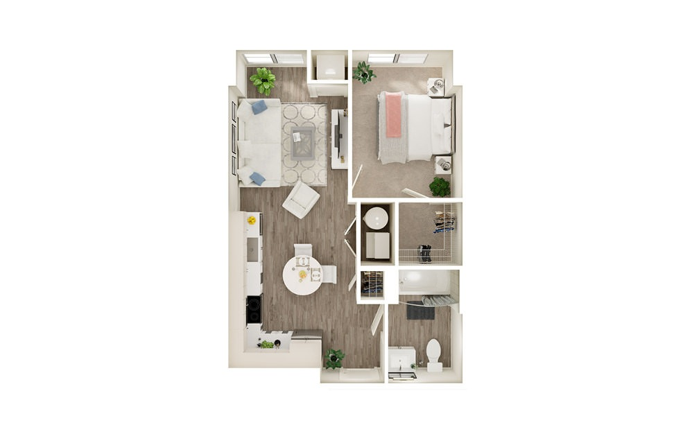 AH - 1 bedroom floorplan layout with 1 bath and 596 square feet.