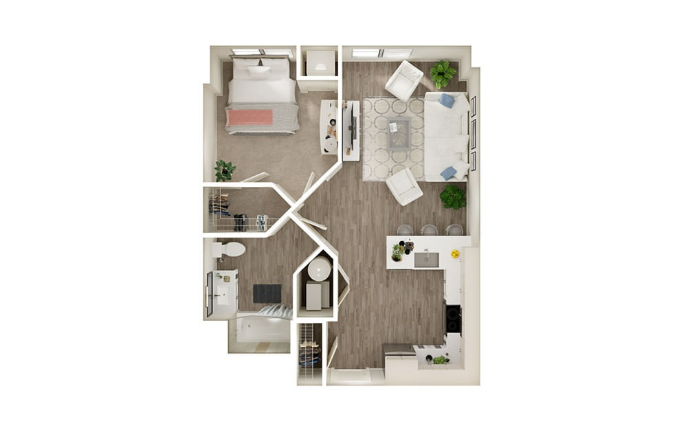 AJ - 1 bedroom floorplan layout with 1 bath and 685 square feet.
