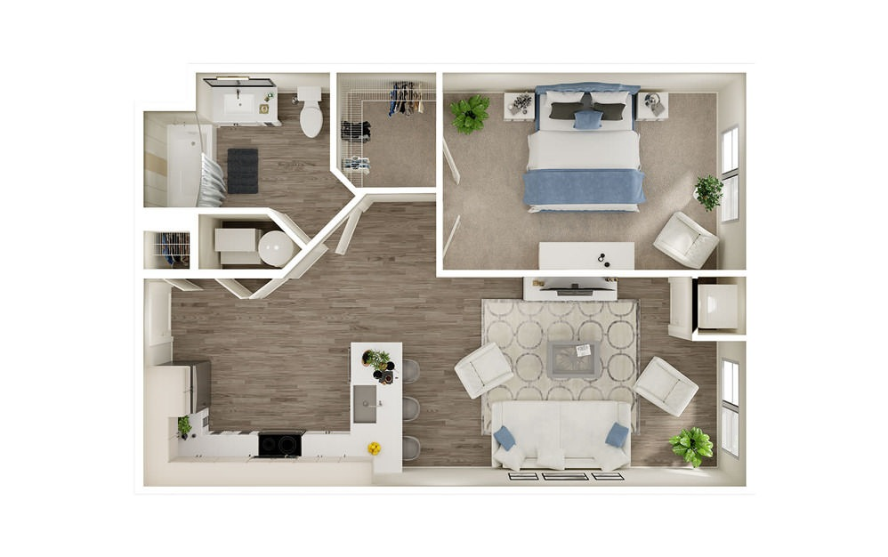 AK - 1 bedroom floorplan layout with 1 bath and 739 square feet.