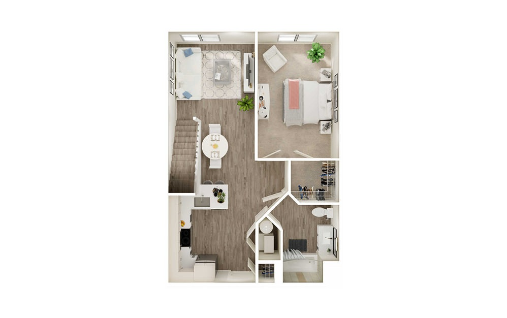 AK1L - 1 bedroom floorplan layout with 1 bath and 859 square feet. (Floor 1)