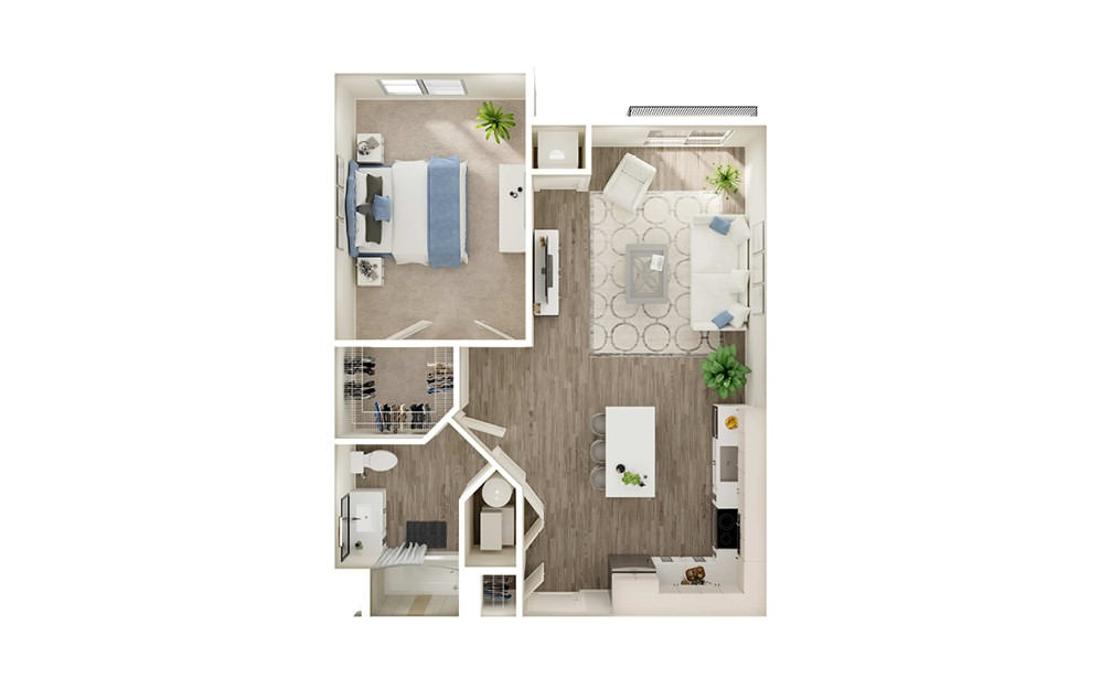 AL1 - 1 bedroom floorplan layout with 1 bath and 713 to 794 square feet.
