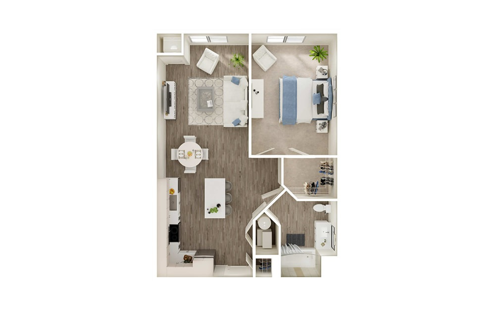 AL2 - 1 bedroom floorplan layout with 1 bath and 777 square feet.