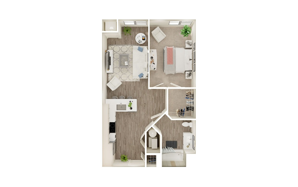 AL5 - 1 bedroom floorplan layout with 1 bath and 662 to 721 square feet.