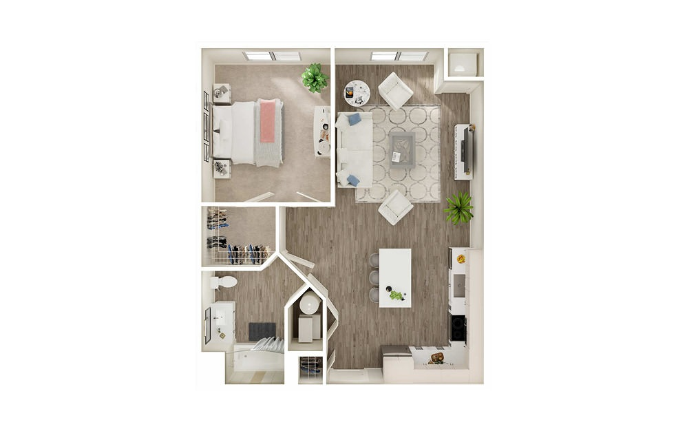 AN1 - 1 bedroom floorplan layout with 1 bath and 713 to 769 square feet.