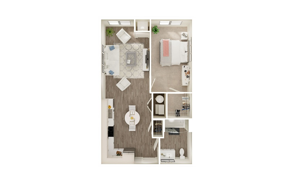 AQ1 - 1 bedroom floorplan layout with 1 bath and 619 to 674 square feet.