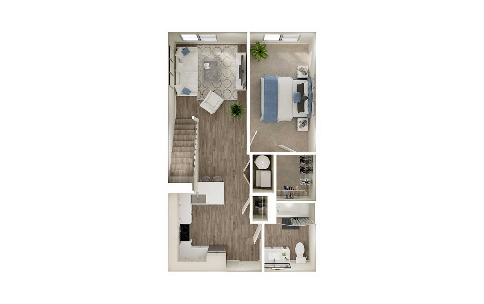 AQ1L - 1 bedroom floorplan layout with 1 bath and 792 to 839 square feet. (Floor 1)