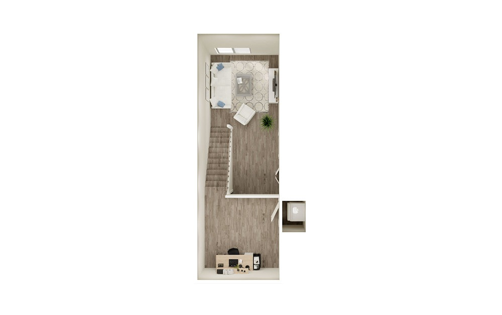 AQ1L - 1 bedroom floorplan layout with 1 bath and 792 to 839 square feet. (Floor 2)
