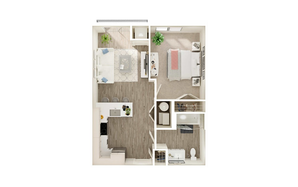 AQ3 - 1 bedroom floorplan layout with 1 bath and 604 square feet.