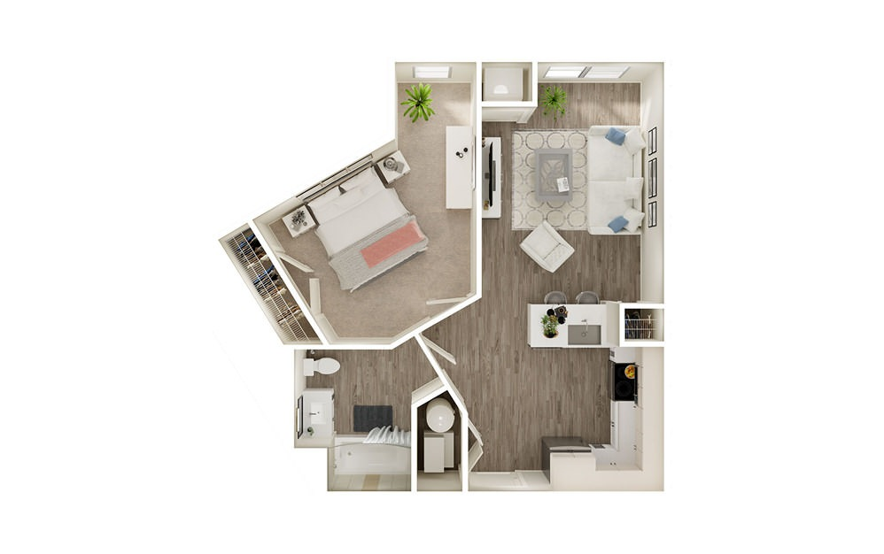 AR - 1 bedroom floorplan layout with 1 bath and 646 square feet.