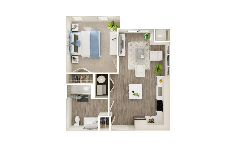 AT - 1 bedroom floorplan layout with 1 bath and 577 square feet.