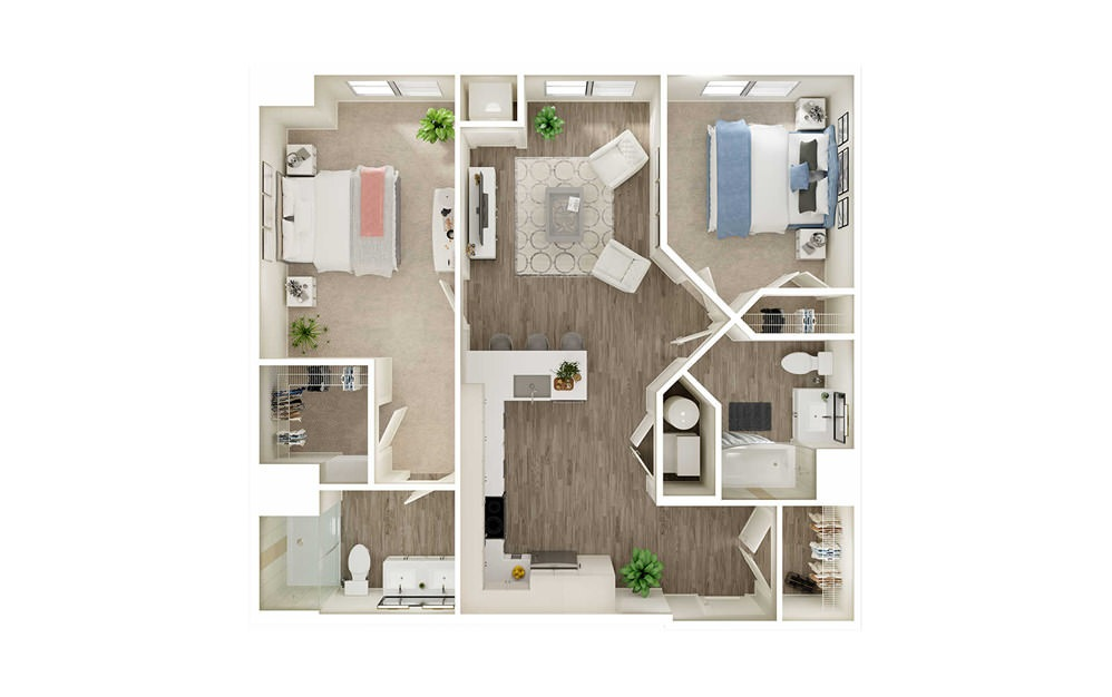 BB - 2 bedroom floorplan layout with 2 baths and 1026 to 1051 square feet.