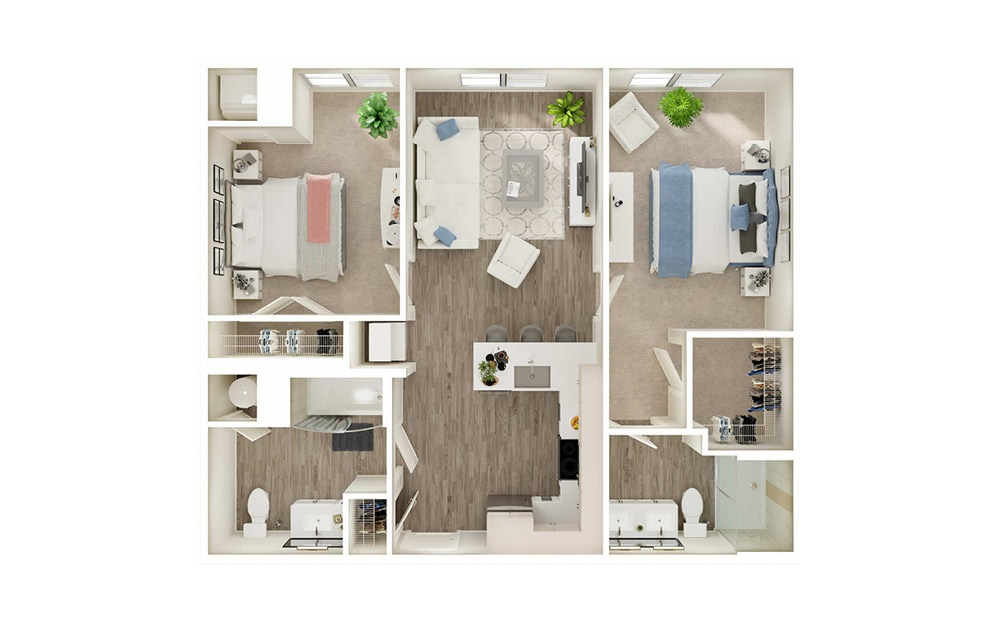 BC - 2 bedroom floorplan layout with 2 baths and 952 square feet.