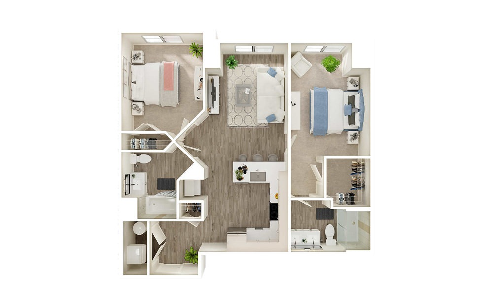 BD - 2 bedroom floorplan layout with 2 baths and 1003 square feet.