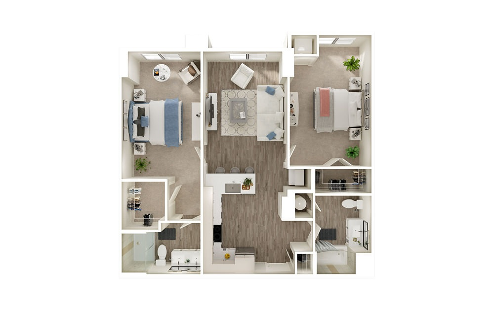 BE - 2 bedroom floorplan layout with 2 baths and 1056 square feet.