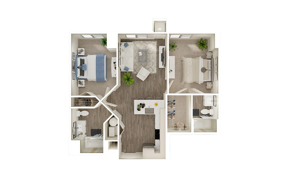 BF - 2 bedroom floorplan layout with 2 baths and 910 square feet.