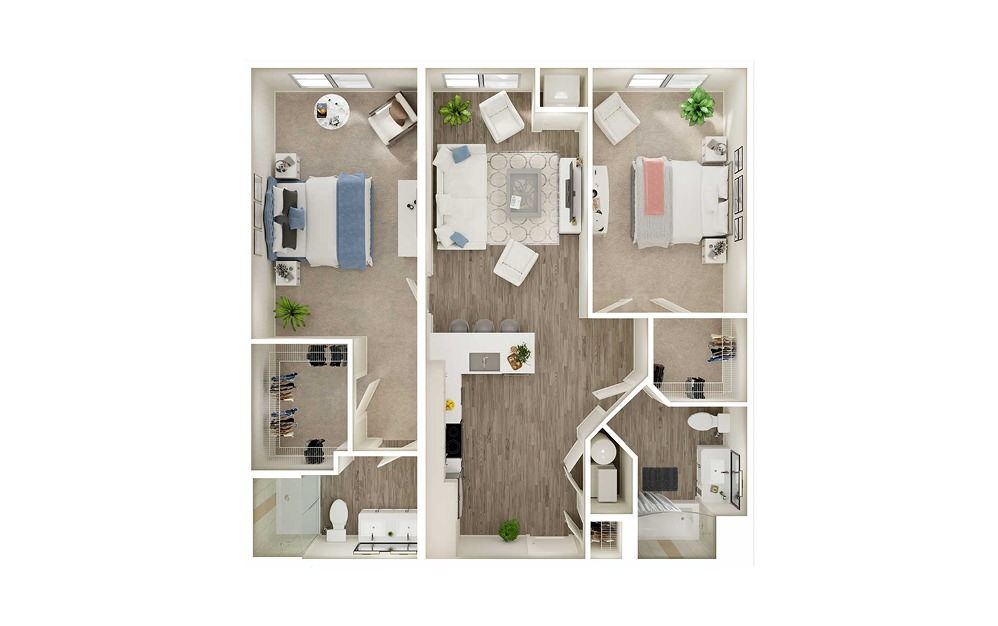 BG - 2 bedroom floorplan layout with 2 baths and 968 to 1084 square feet.