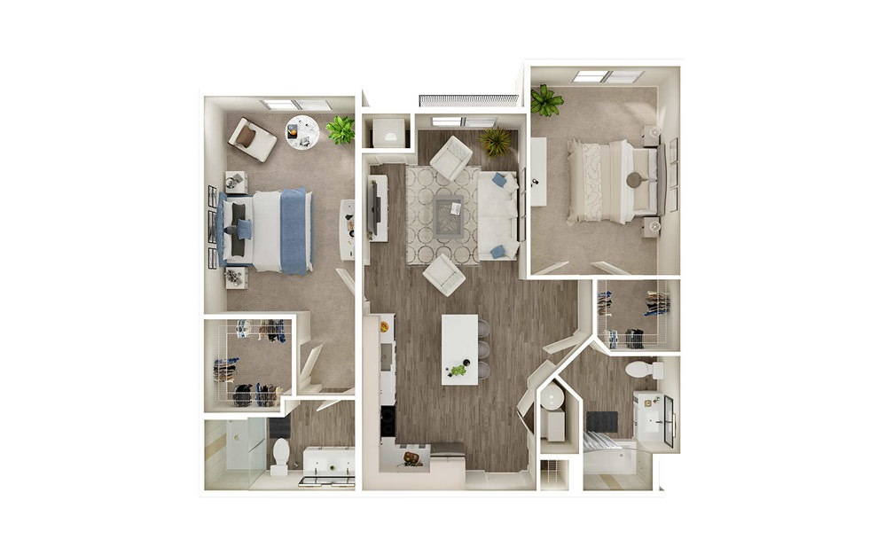 BH - 2 bedroom floorplan layout with 2 baths and 1086 square feet.