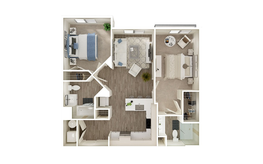 BJ1 - 2 bedroom floorplan layout with 2 baths and 964 to 968 square feet.
