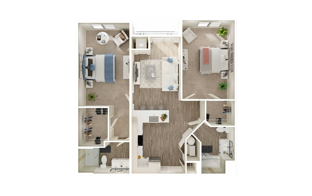 BJ2 - 2 bedroom floorplan layout with 2 baths and 1111 square feet.