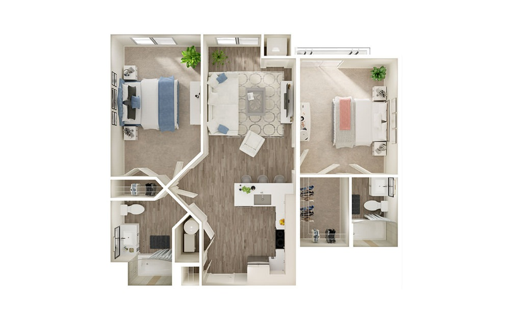 BJ4 - 2 bedroom floorplan layout with 2 baths and 939 square feet.