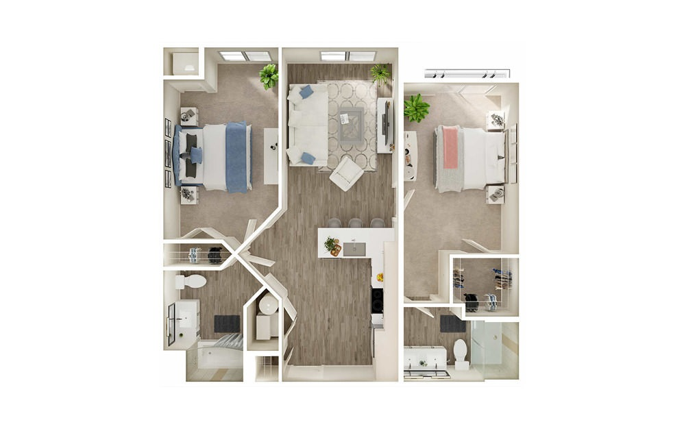 BJ5 - 2 bedroom floorplan layout with 2 baths and 969 to 975 square feet.