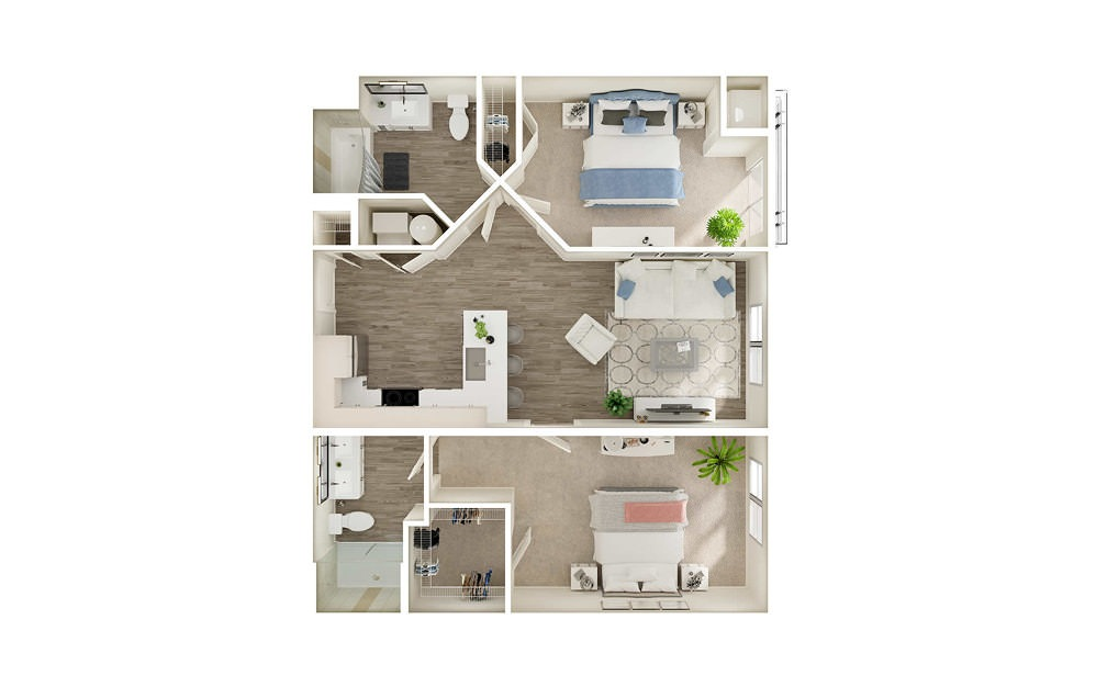 BK3 - 2 bedroom floorplan layout with 2 baths and 957 square feet.