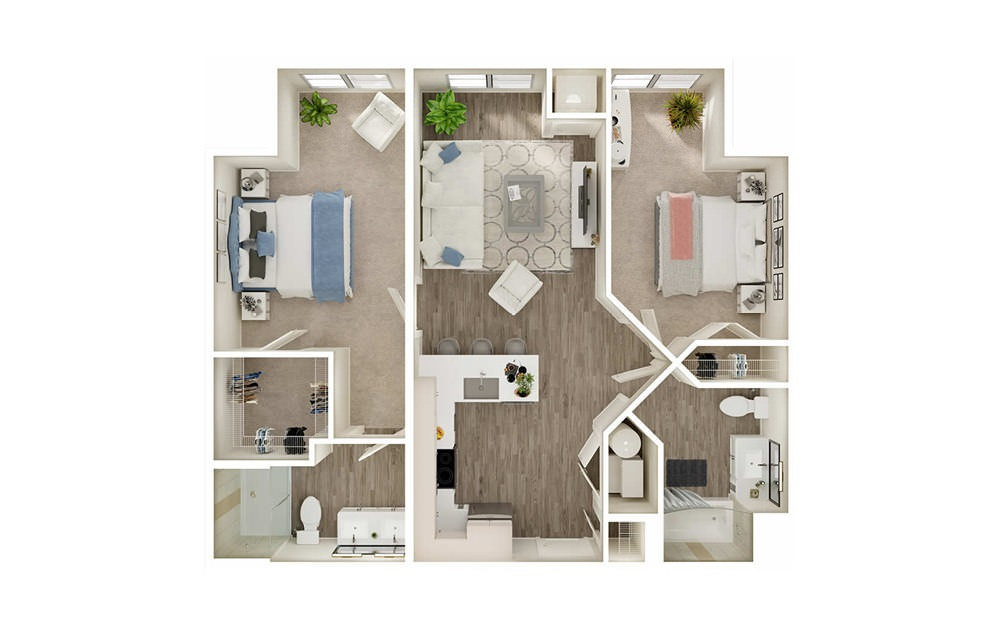 BM - 2 bedroom floorplan layout with 2 baths and 936 square feet.