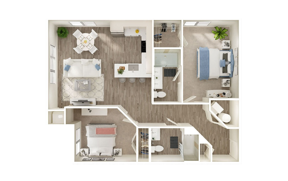 BN - 2 bedroom floorplan layout with 2 baths and 1033 square feet.