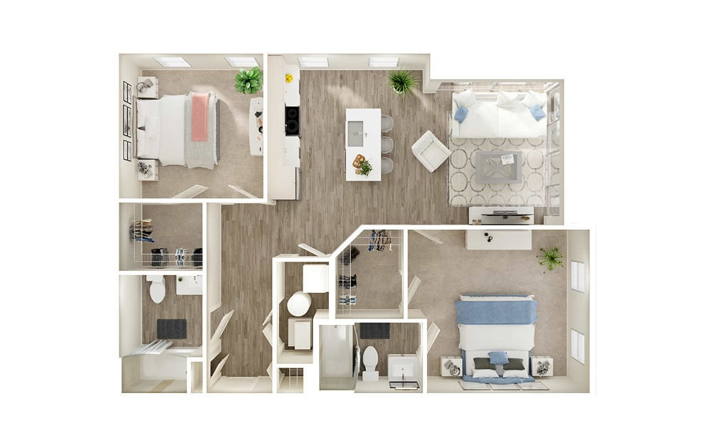 BP - 2 bedroom floorplan layout with 2 baths and 1001 square feet.
