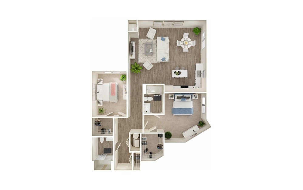 BQ - 2 bedroom floorplan layout with 2 baths and 1301 square feet.