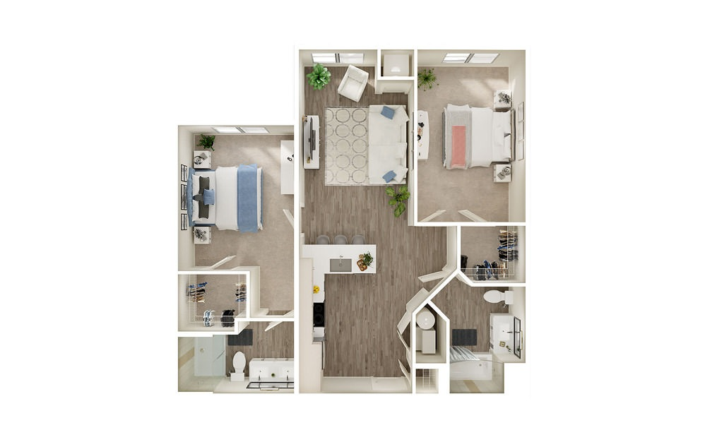 BR - 2 bedroom floorplan layout with 2 baths and 1000 square feet.