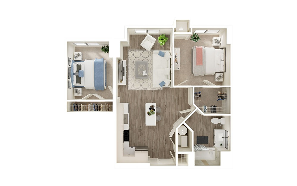 BT - 2 bedroom floorplan layout with 1 bath and 829 square feet.