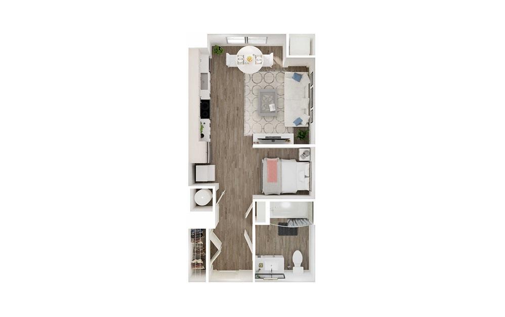 SA - Studio floorplan layout with 1 bath to 517 square feet.