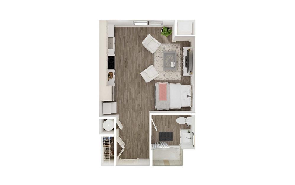 SD - Studio floorplan layout with 1 bath square feet.