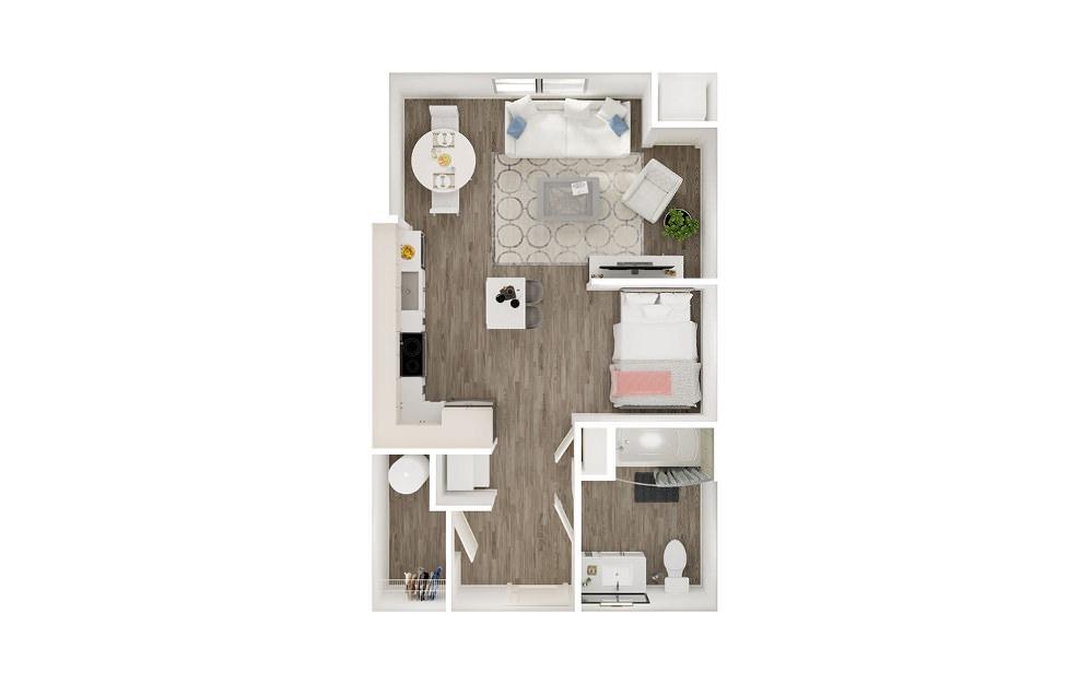 SE - Studio floorplan layout with 1 bath and 533 square feet.