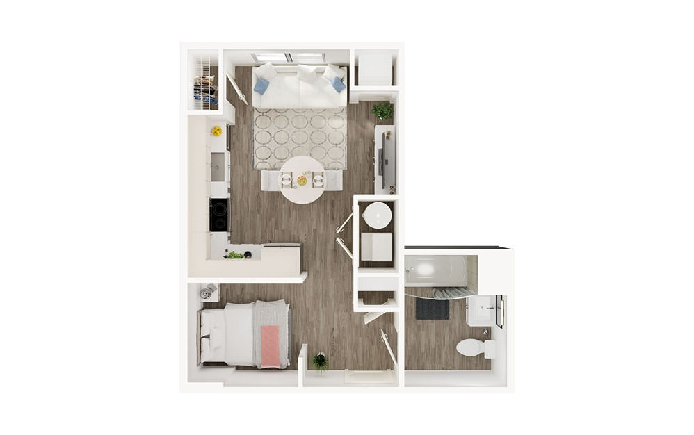 SF - Studio floorplan layout with 1 bath square feet.