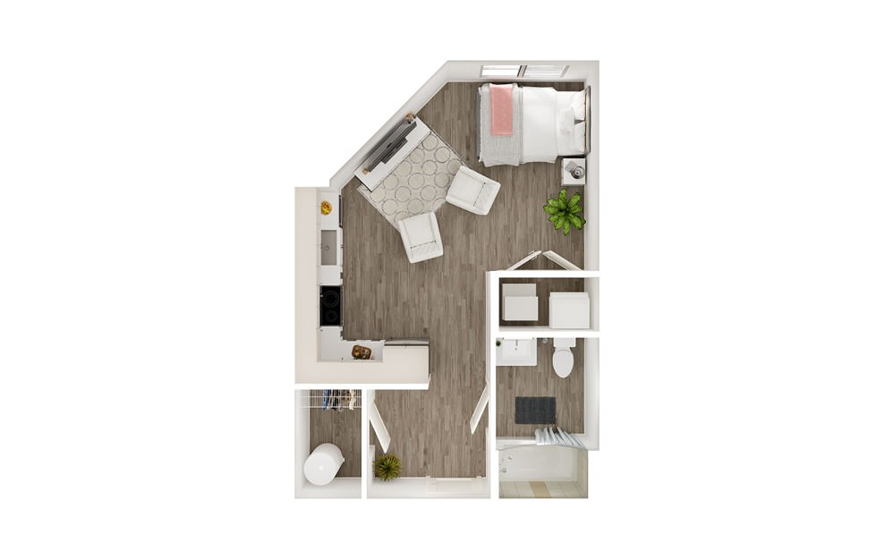 SG2 - Studio floorplan layout with 1 bath square feet.