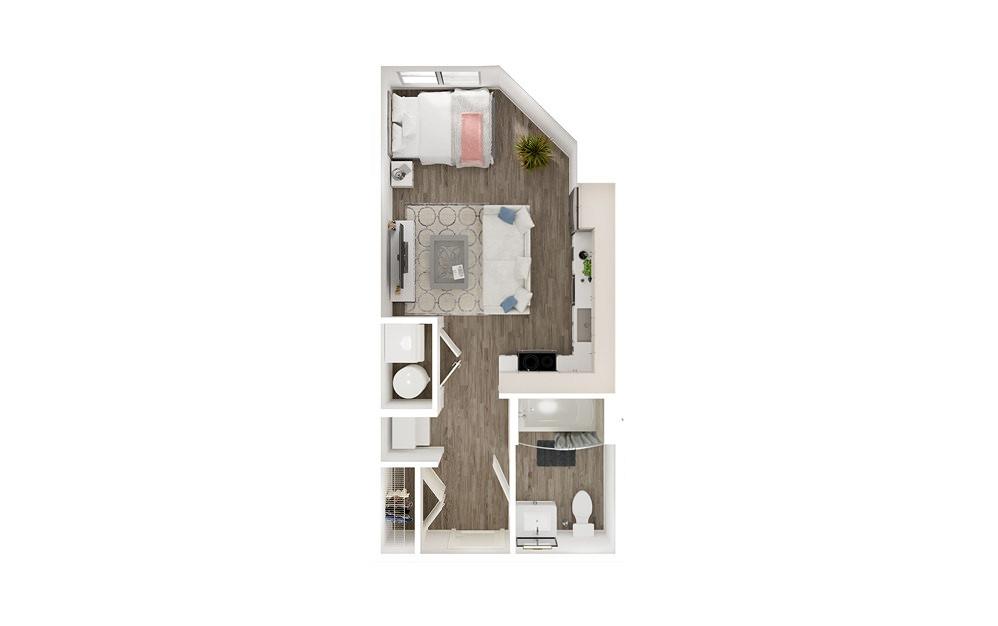 SHL - Studio floorplan layout with 1 bath and 578 to 675 square feet. (Floor 1)