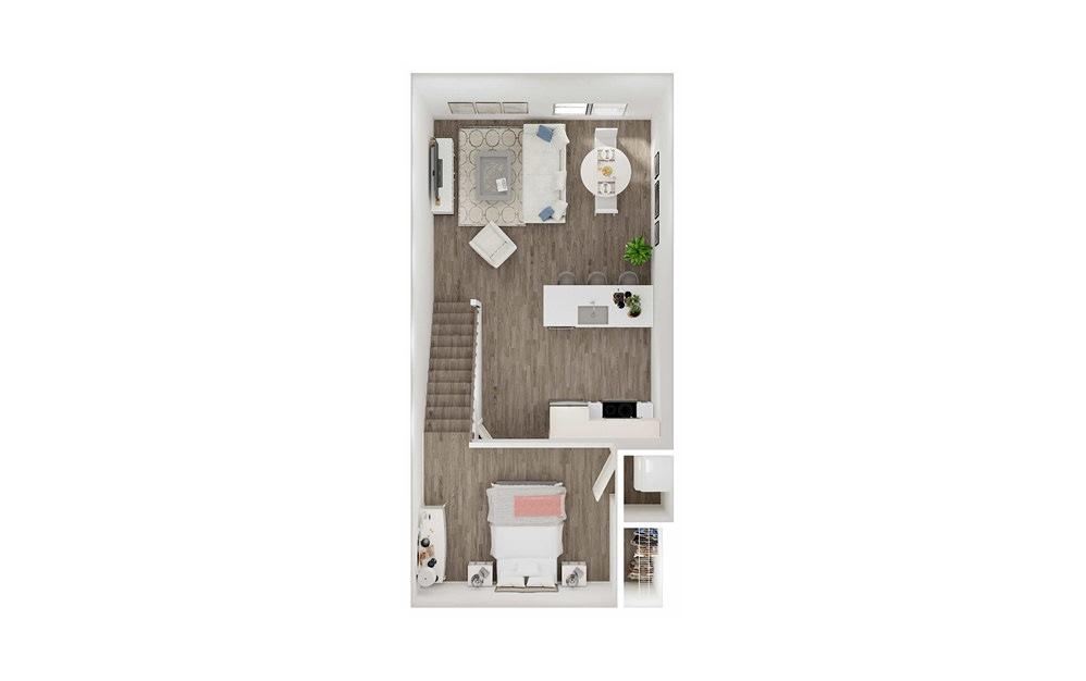 SHL - Studio floorplan layout with 1 bath and 578 to 675 square feet. (Floor 2)