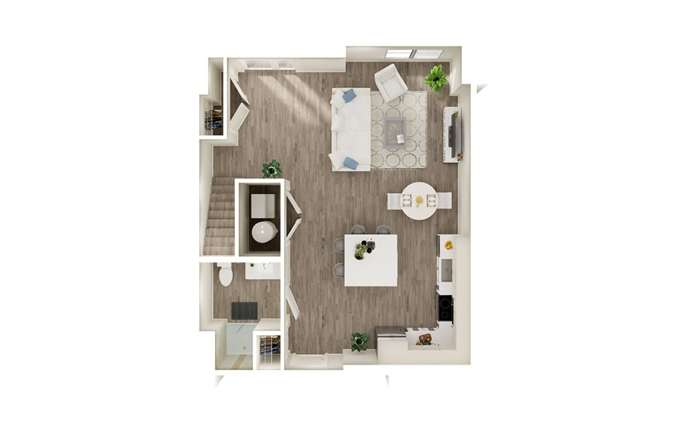 TH - 2 bedroom floorplan layout with 3 baths and 1438 to 1503 square feet. (Floor 1)
